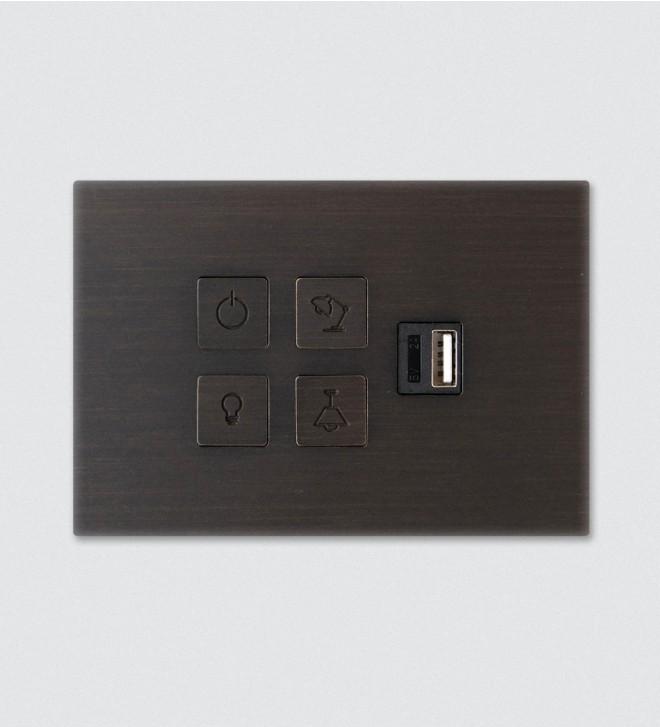 Schalterrahmen mit Tastern und USB-Steckdose