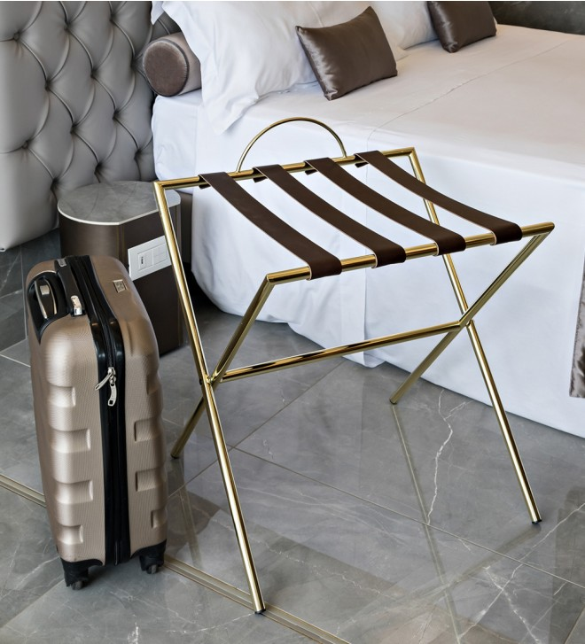 Klappbarer Kofferträger für Hotel aus Metall und Leder 'Bag'