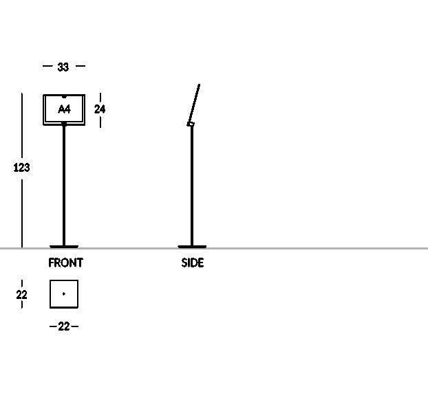 Informationsständer für Hotel aus mattiertem Stahl und Plexiglas. Fasst Grafiken im A4 Format (Horizontal).