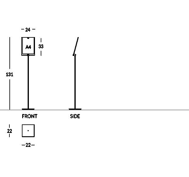 Informationsständer für Hotel aus mattiertem Stahl und Plexiglas. Fasst Grafiken im A4 Format (Vertikal).