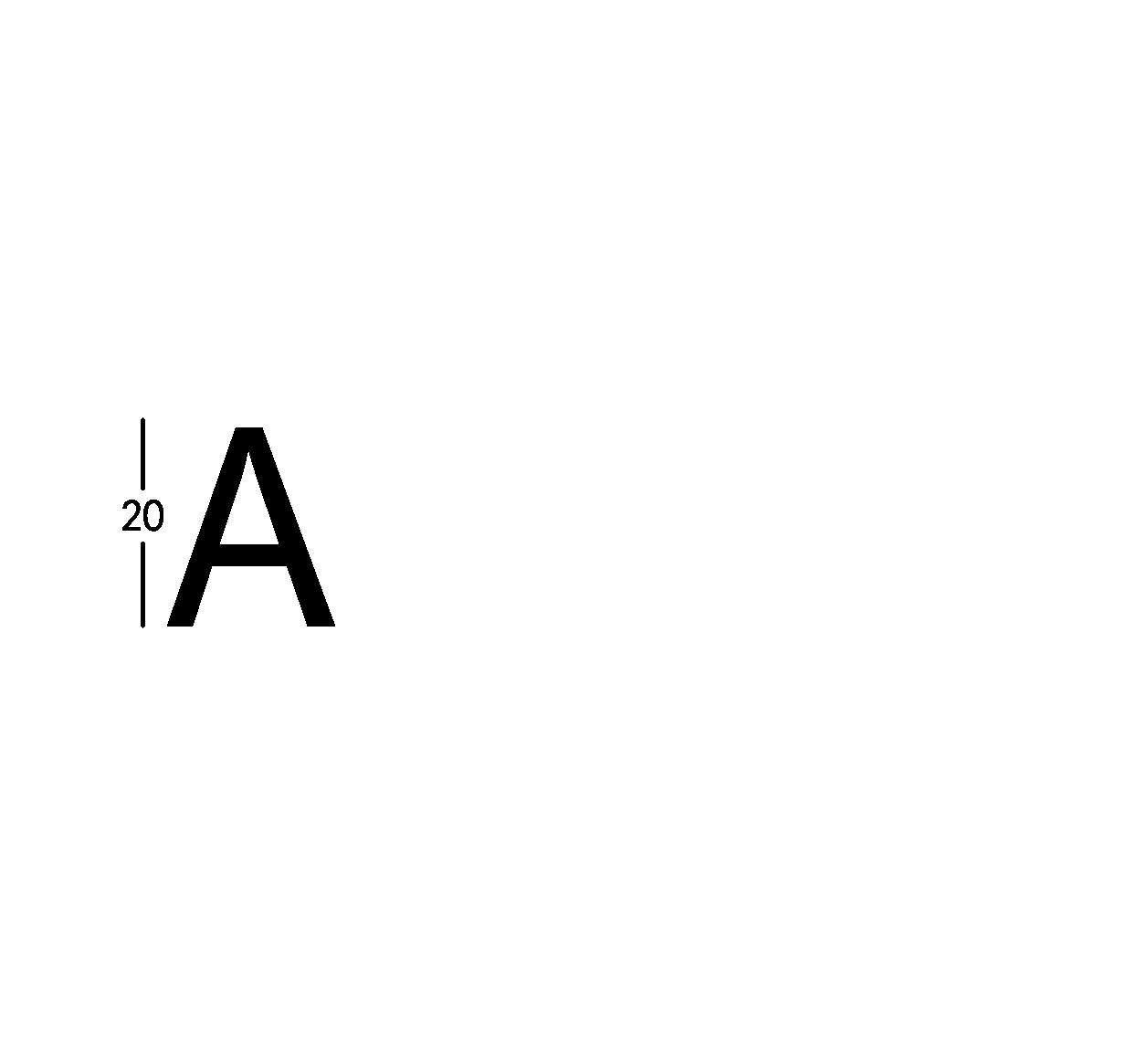 Carattere rit. h20cm/s2.5mm