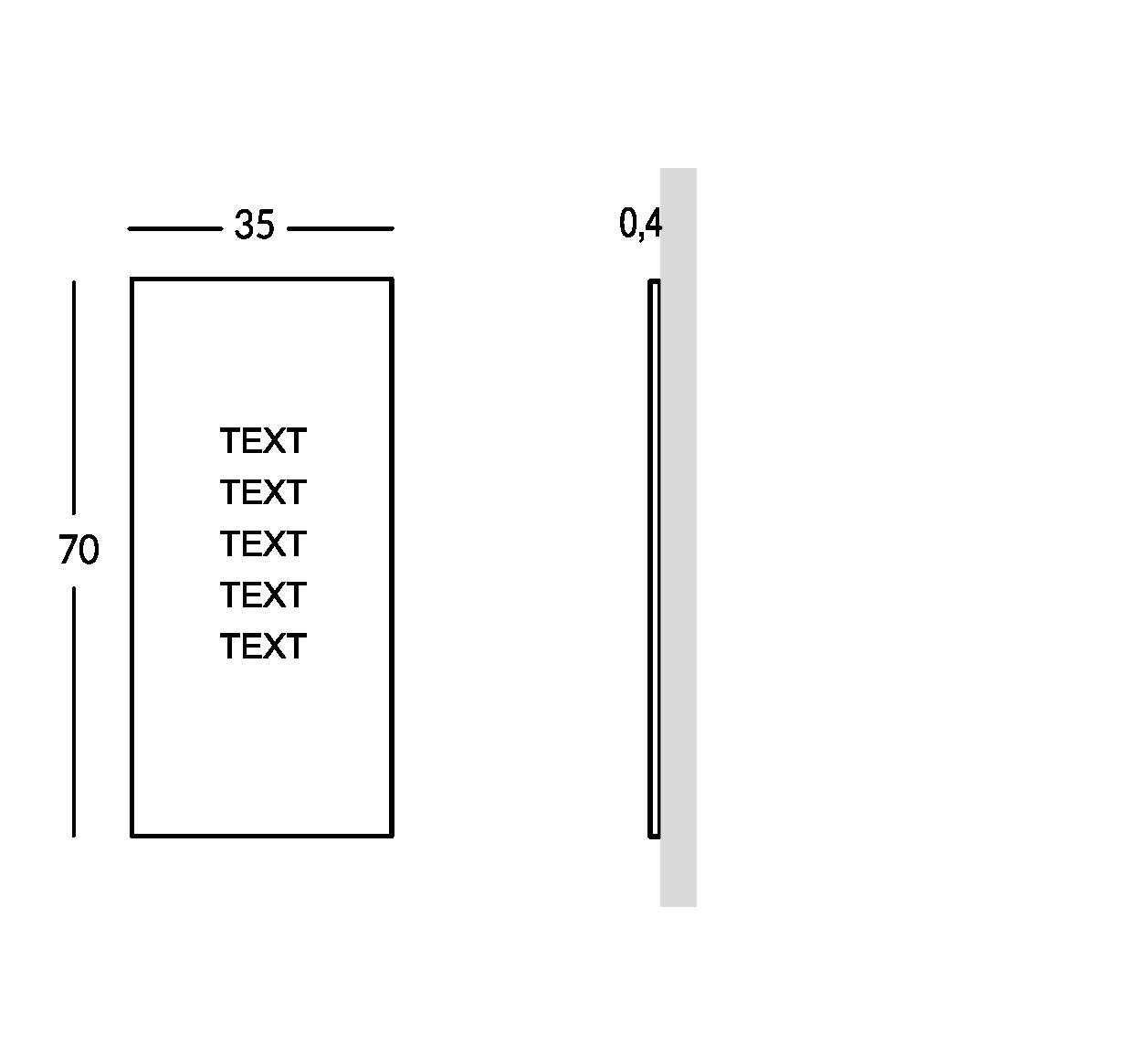 Schild außen mit durchbohrter und überlagerter Schrift. Große Ausführung