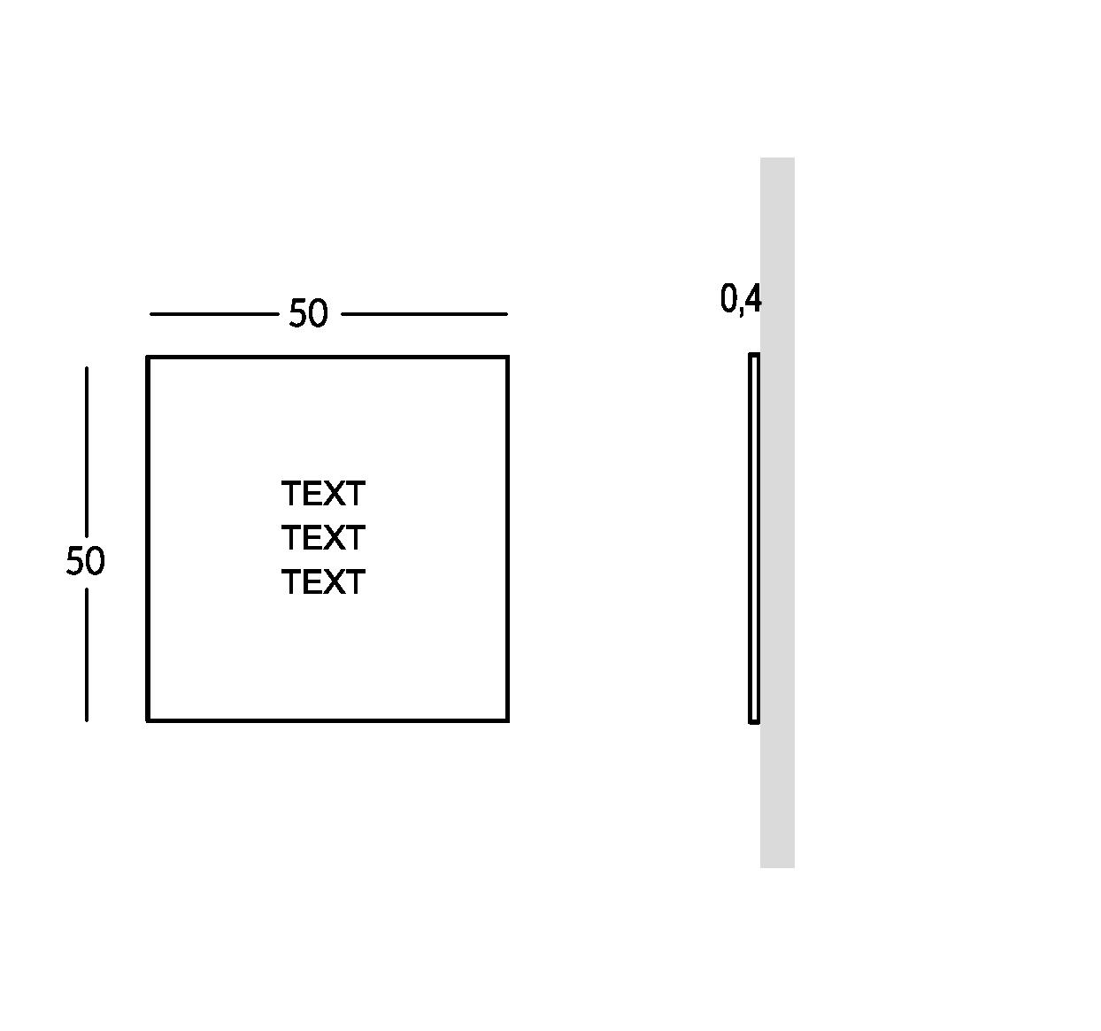 Schild außen mit durchbohrter und überlagerter Schrift. Mittlere Ausführung