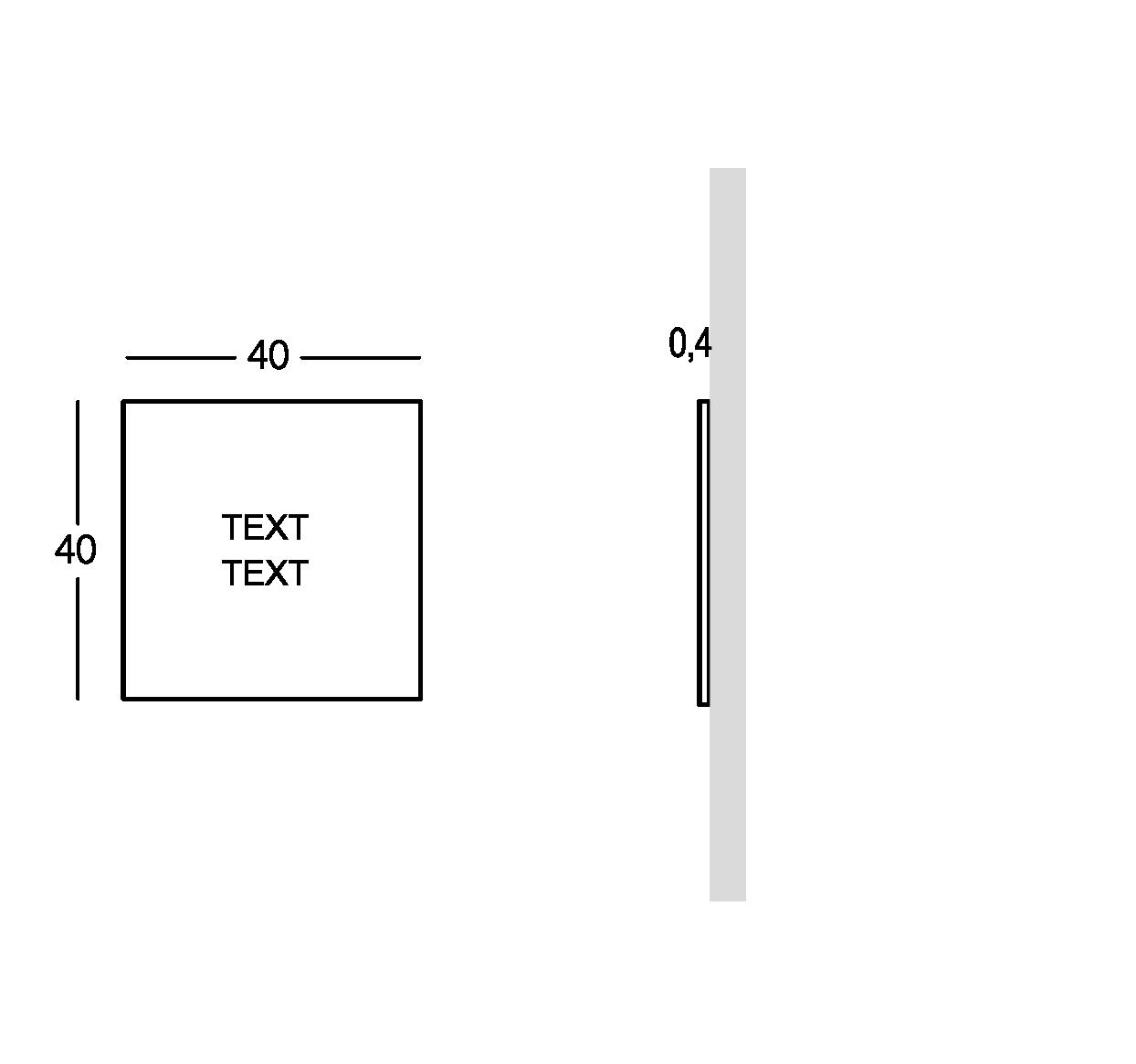 Schild außen mit durchbohrter und überlagerter Schrift. Kleine Ausführung