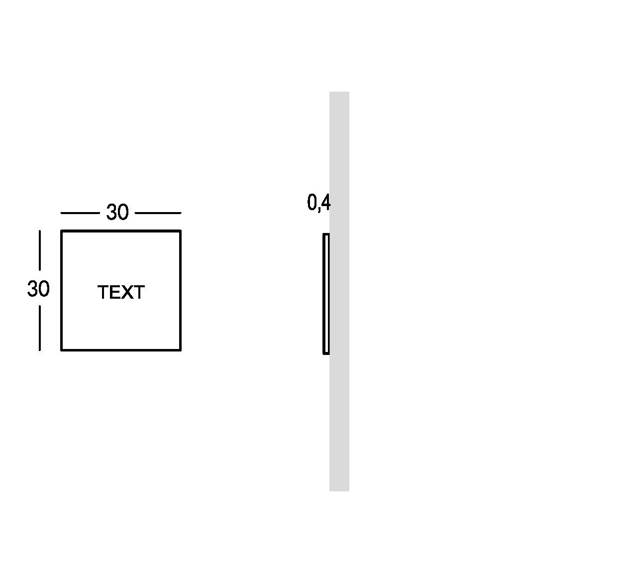 Schild außen mit durchbohrter und überlagerter Schrift. XS Ausführung