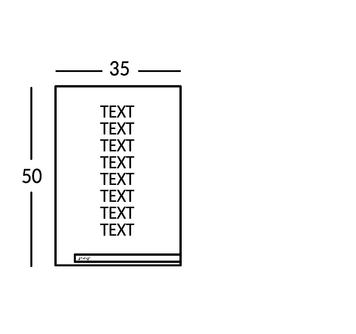 Schild mit 8 Textzeilen. Linie Soho.